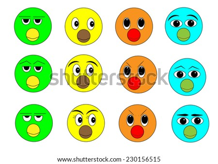 different colors and faces styles of bird faces cartoon