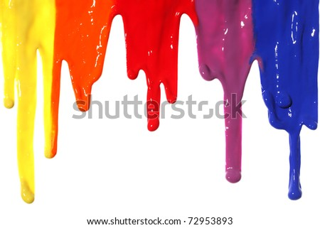 Different colors of paint dripping - stock photo