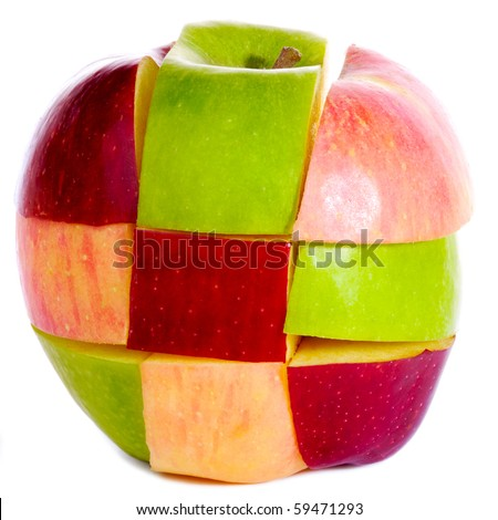 Different colors sliced apple isolated on white - stock photo