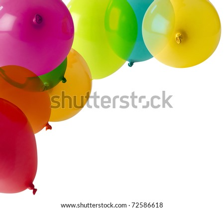 different coloured balloons forming a corner frame - stock photo