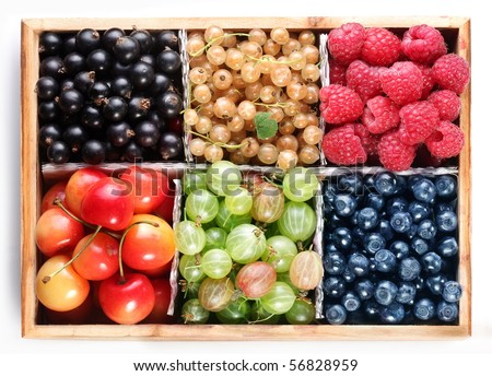 Different colourful berries in the box - stock photo