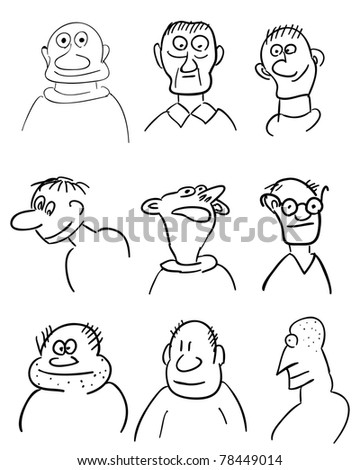 Different comic faces. Hand-drawn illustration. Raster version. - stock photo