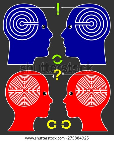 Different Communication Pattern. Men and women communicate among themselves in different ways - stock photo