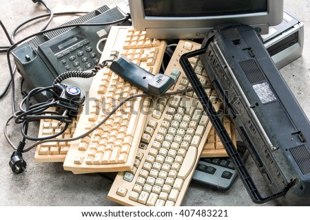 different computer parts and radio - stock photo
