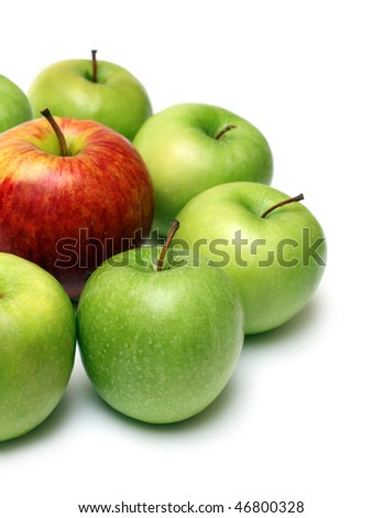 different concepts - green apples surround red apple - stock photo