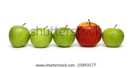 different concepts - red apple between green apples - stock photo