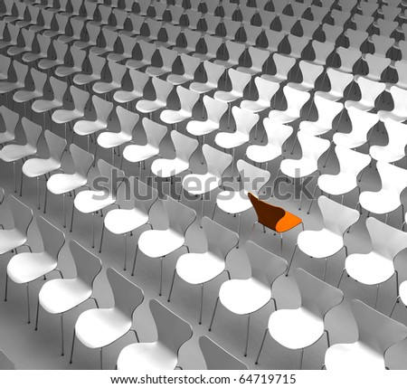 Different - Conceptual rendering showing a lot of chairs with one of them turned around as a symbol for being different - stock photo