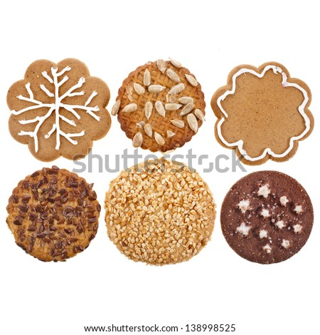 different cookies set top view close up macro shot  isolated on a white background - stock photo