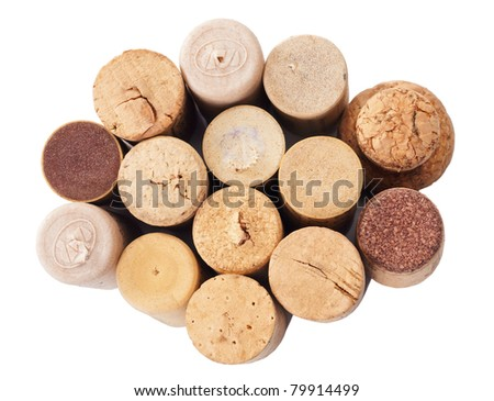 different cork bottle top as texture background - stock photo
