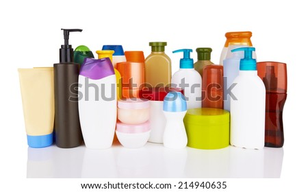 different cosmetic products for personal care isolated on white background