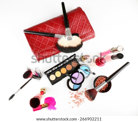 Different cosmetics isolated on white - stock photo