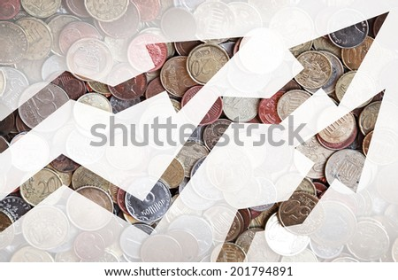 Different countries coins background with growing trends arrows - stock photo
