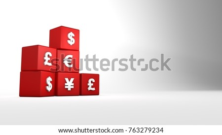 Different Currencies Red Box Currency Icons Stock Illustration