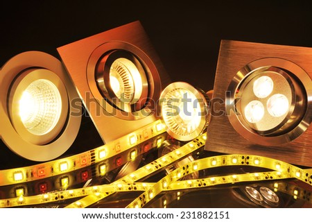 different current LEDs-technologies in one picture  - stock photo