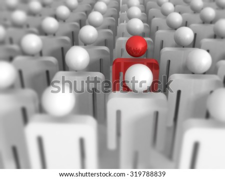 Different 3d Man Icon Out From Crowd. Leadership Concept 3d Render Illustration - stock photo