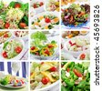 Different delicious vegetable and fruit salads - stock photo