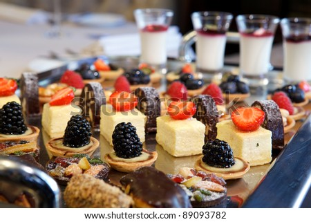different desserts on a platter - stock photo