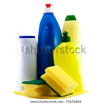 Different detergent bottles against the white background