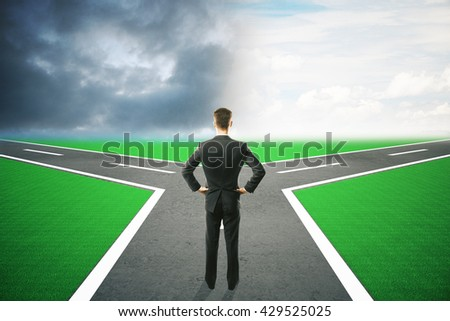Different direction concept with businessman choosing between different roads under dull and bright skies. 3D Rendering - stock photo