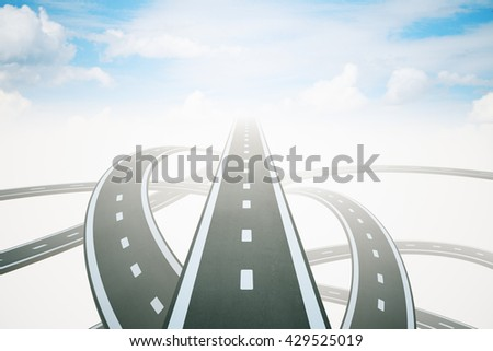 Different directions to success with three highway roads leading to bright sky. 3D Rendering - stock photo