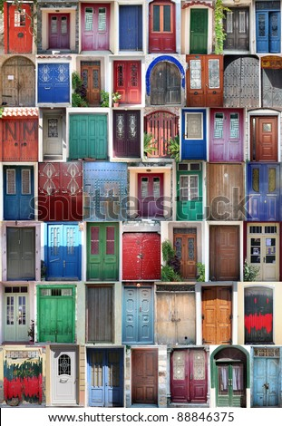 Different doors - stock photo