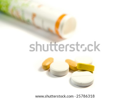 different drugs on white ground