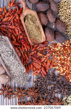 Different dry  spices on a  wooden background