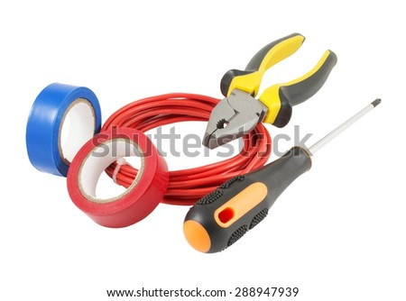 different Electrician's tools on white background - stock photo
