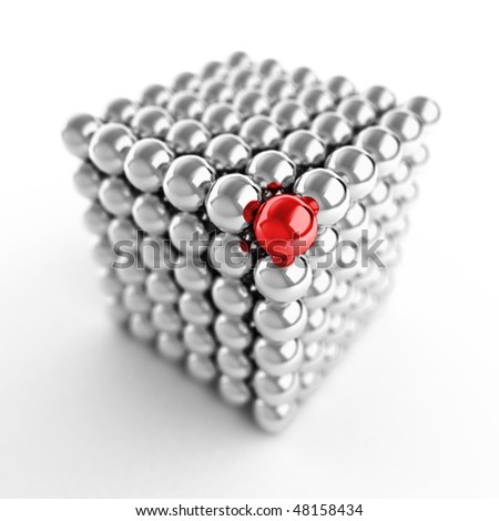 Different element. Cube made from shiny metal balls. For similar images please check my portfolio - stock photo