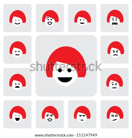 different emotions of young woman face- graphic. This illustration  represents feelings of being sad, happy, in doubt, feeling fear, worried, surprised, confident, feeling indifferent, naughty - stock photo