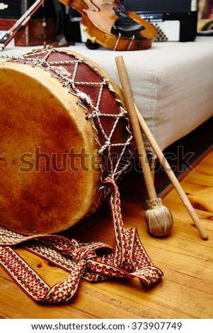 Different ethnic music instruments. Drums and national instruments.