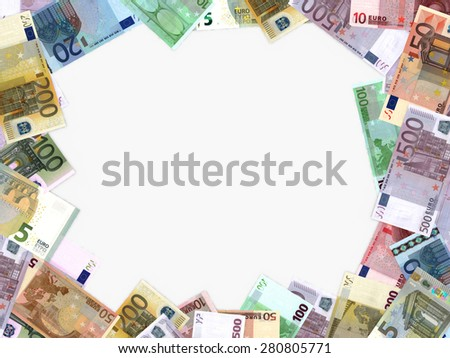 Different Euro bank notes on white background. - stock photo