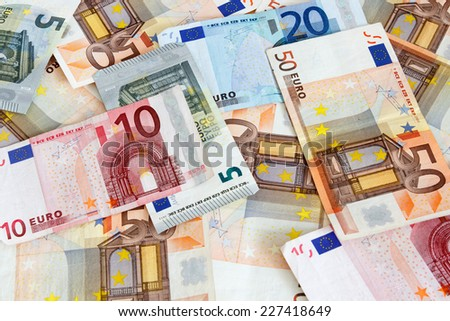 Different Euro banknotes from 5 to 50 Euro