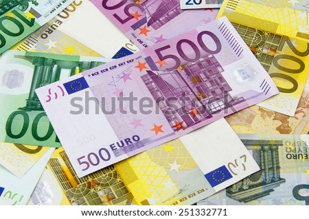 Different Euro banknotes from 5 to 500 Euro - stock photo