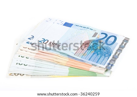 Different euro banknotes on a white background.