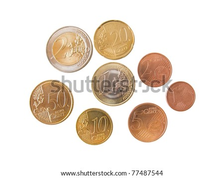 Different euro coins and cents isolated in white - stock photo