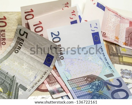 different euro currency closeup on white