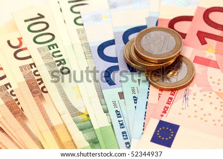 Different european coins and notes - stock photo