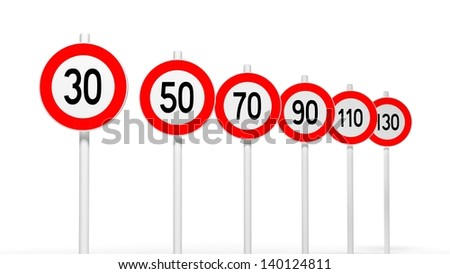 different european road signs on white background - stock photo