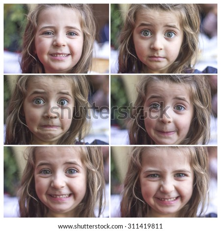 Different facial expressions of a girl - stock photo