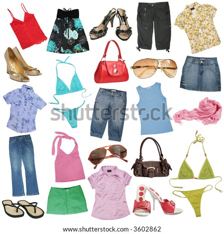 Different female clothes, shoes and accessories. #1 - stock photo