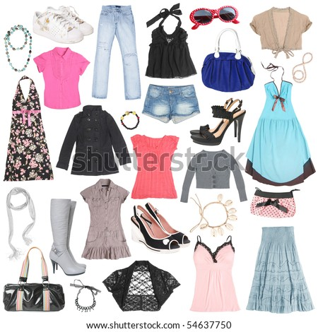 Different female clothes, shoes and accessories. #2 - stock photo