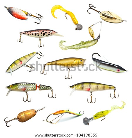 different fishing baits isolated on white background - stock photo