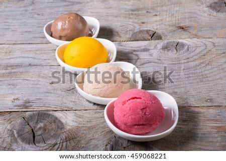 Different flavors of sorbet balls ice cream - stock photo