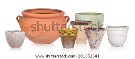 Different flowerpots, isolated - stock photo