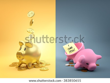 Different  Fortunes. Two money piggy banks - One full of gold the other empty other than a few pennies. - stock photo