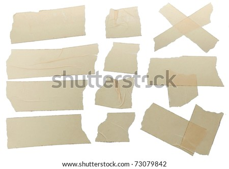 Different fragments of the yellow scotch - stock photo