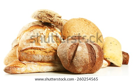 Different fresh bread, isolated on white - stock photo