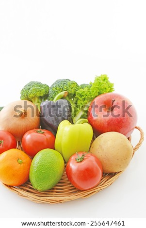 Different fresh fruits and vegetables