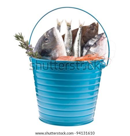 Fresh fish bream monkfish cod sole stock photo 143482897 for Bucket of fish